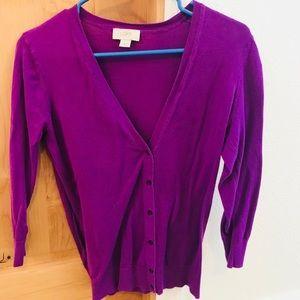 Purple LOFT cardigan size medium